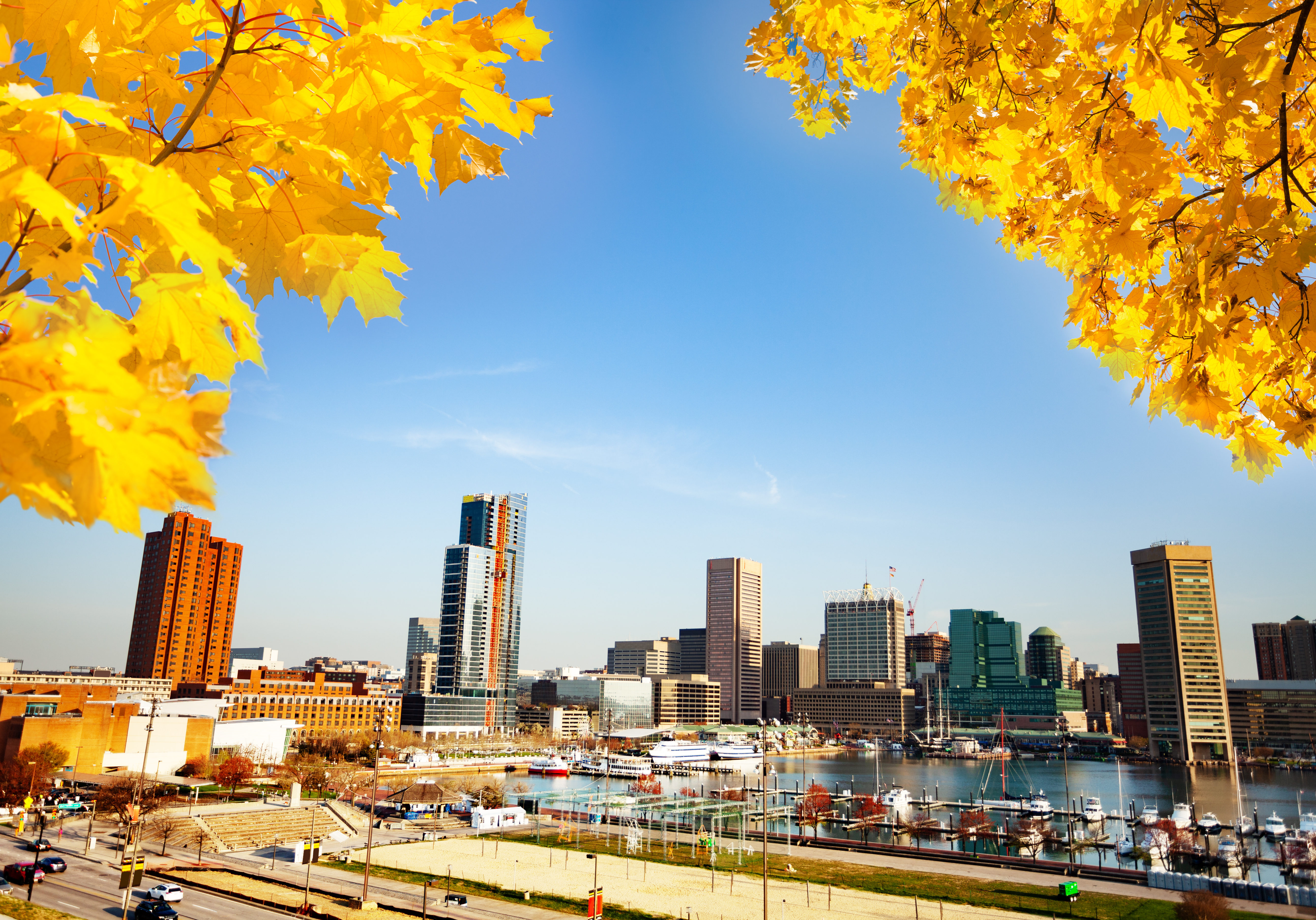 Panoramic view of Baltimore Inner Harbor in autumn, Maryland, USA